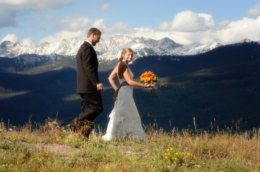 Fall Vail Colorado Mountaintop Wedding and reception at the Lodge at Vail