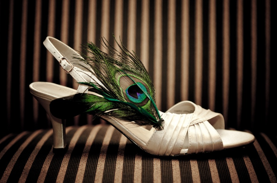 peacock feathers bridal shoes