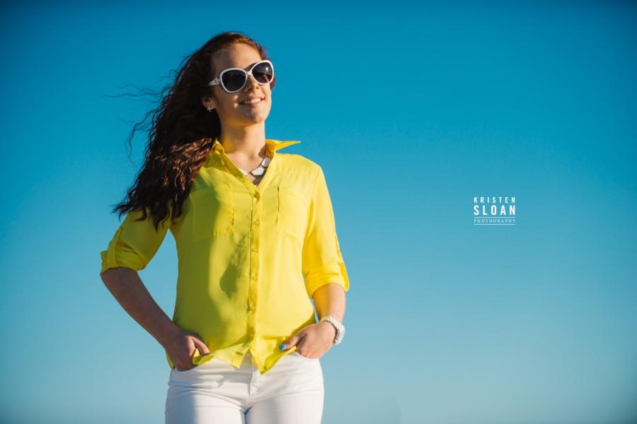 St Pete FL Beach Senior Portrait Photos at Treasure Island Yellow