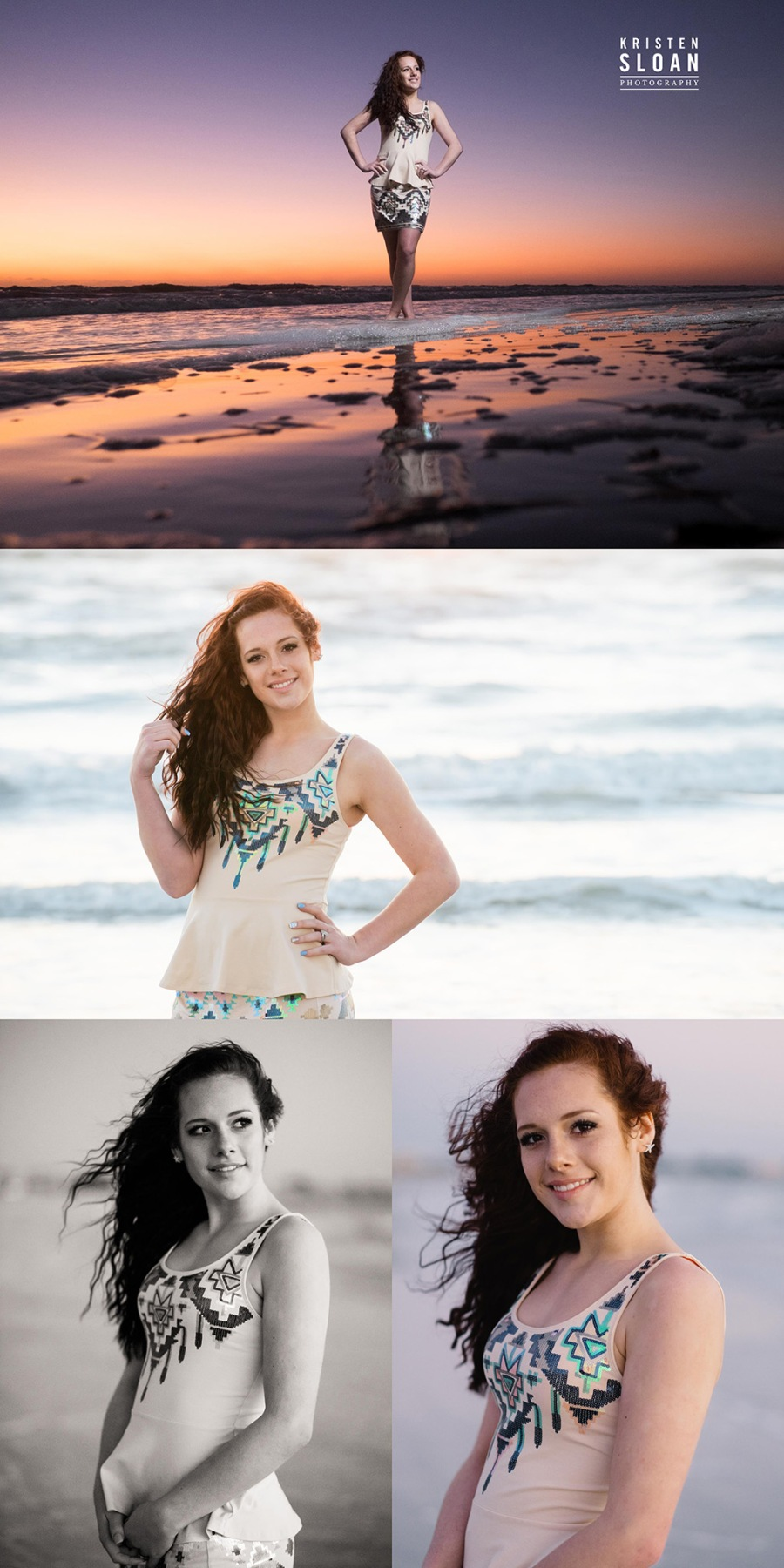 Sunset St Pete FL Beach Senior Portrait Photos at Treasure Island
