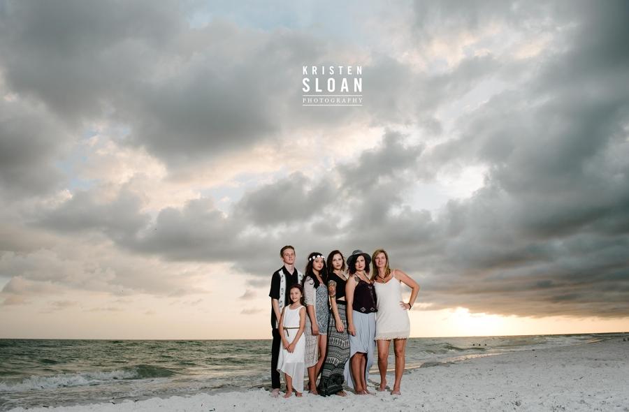 Treasure Island Family Beach Sunset Portrait Photos with Dramatic Skies in Black and Cream Attire