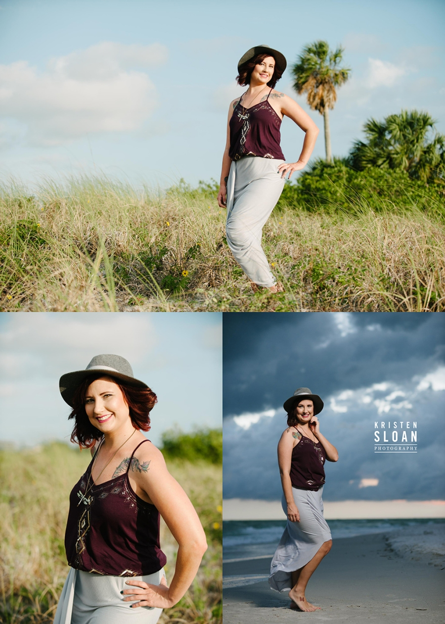 Treasure Island Family Beach Sunset Portrait Photos with Dramatic Skies in Black and Cream Attire