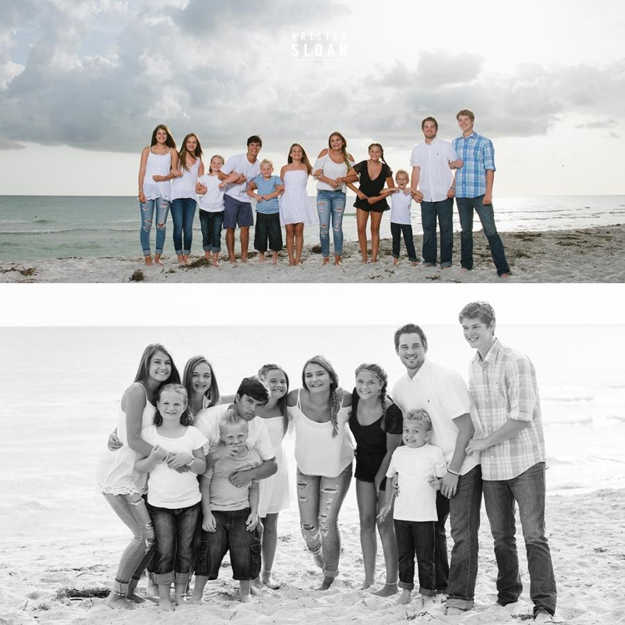 Longboat Key Sunset Family Reunion Portrait Photos by Kristen Sloan Photography