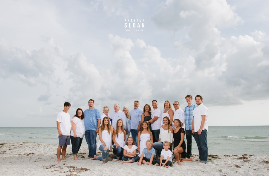 Longboat Key Florida Sunset Family Reunion Portrait Photos by Kristen Sloan Photography