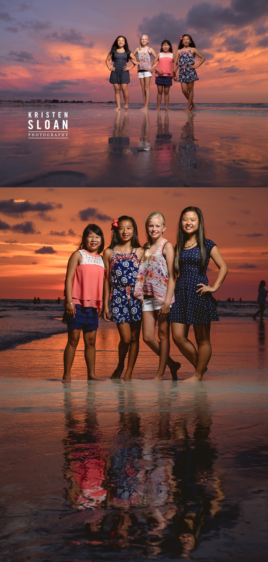 Sunset Family Beach Portraits in Treasure Island Florida | Treasure Island Wedding Portrait Photographer Kristen Sloan | St Pete Beach Wedding Portrait Photographer