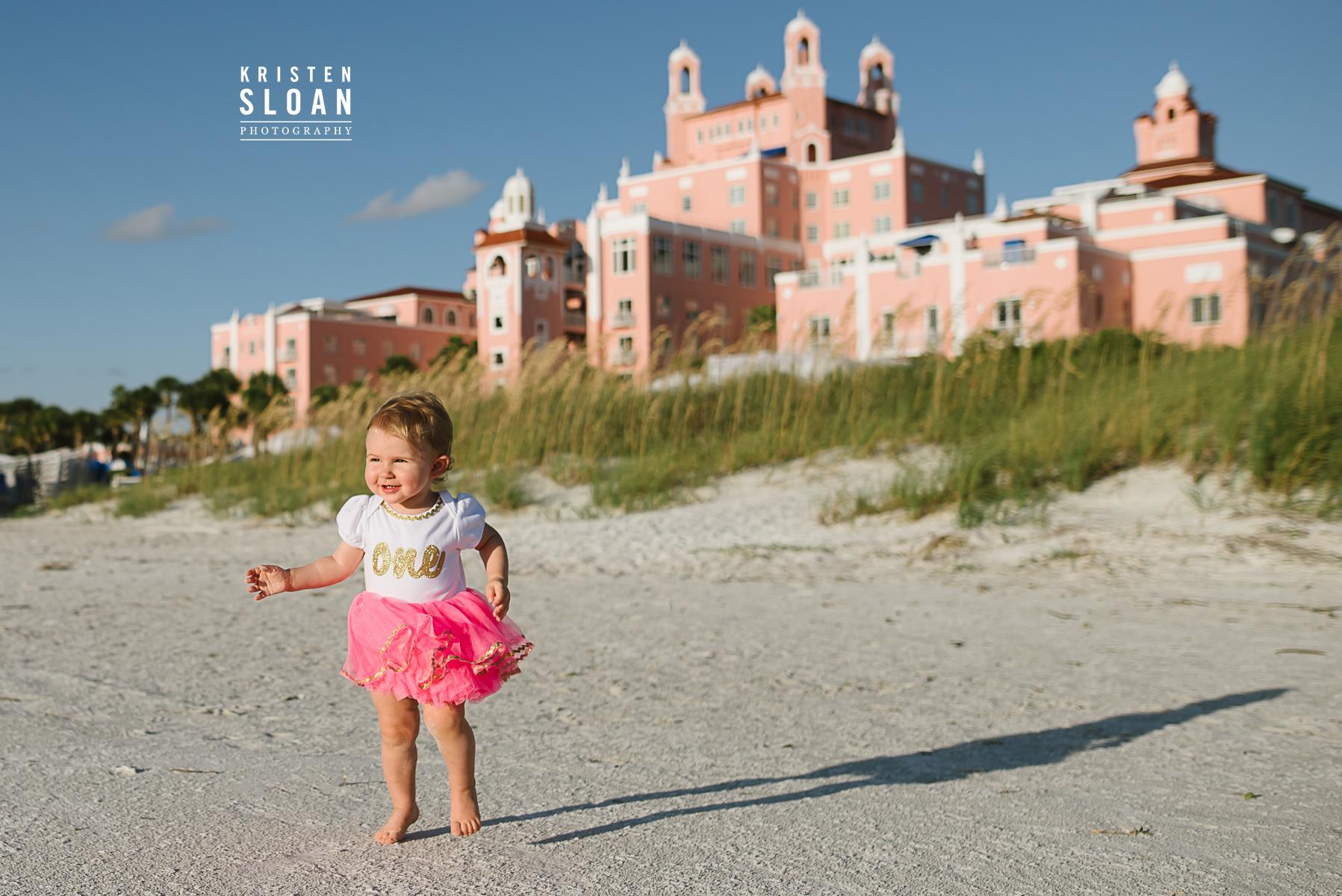 Don Cesar Beach St Pete Beach Family Kids Baby Portraits | One Year Beach Portraits | The Pink Palace | Loews Don Cesar Hotel | St Pete Beach Photographer Kristen Sloan