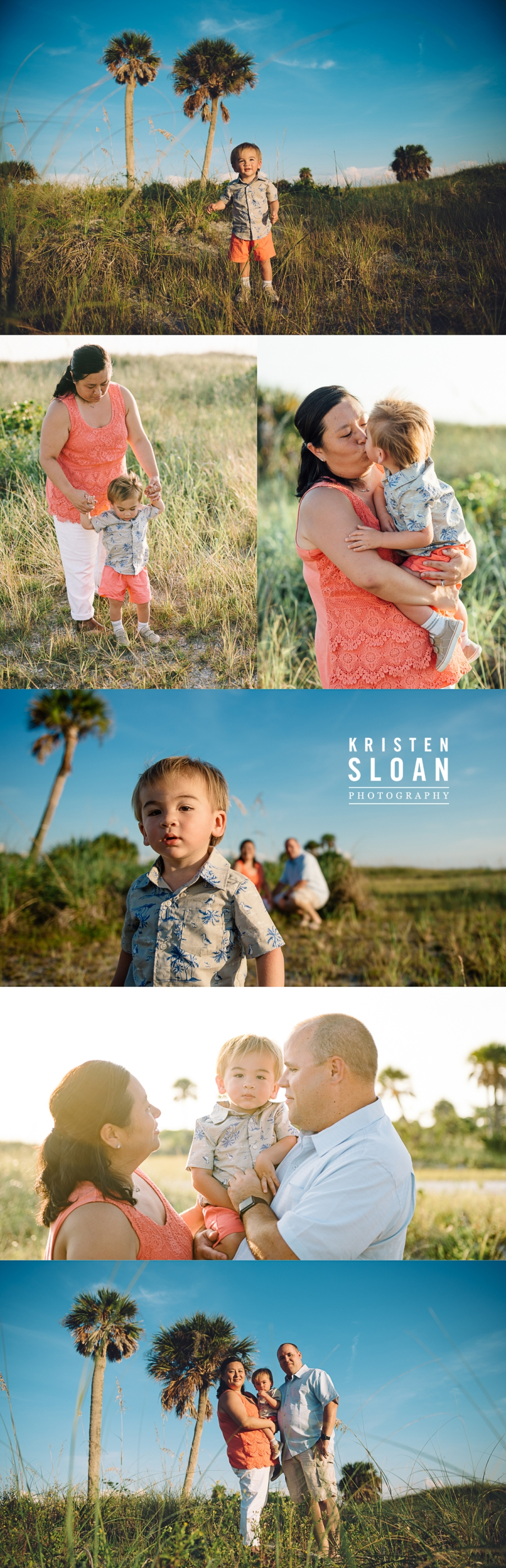 Treasure Island Florida Family Beach Sunset Photos in Coral, White & Blue