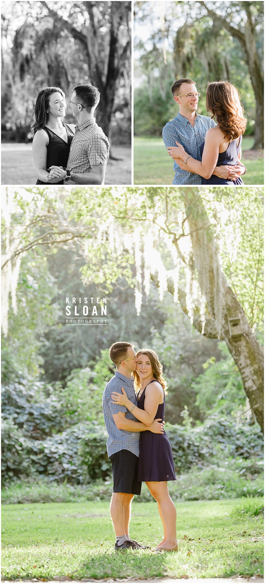 Oak Tree Spanish Moss Engagement Couples