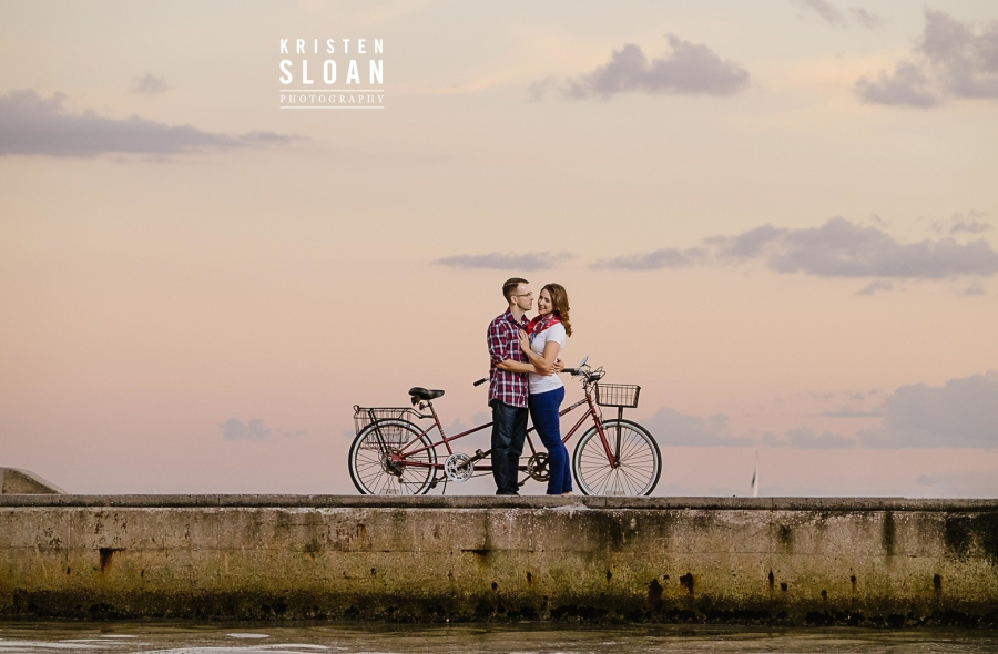 Red Tandem Bicycle Engagement Photos St Pete Florida