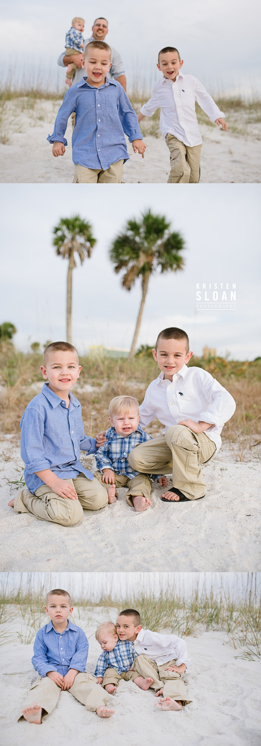 Tradewinds Resort Family Beach Photos in Treasure Island by Kristen Sloan Photography | What to Wear to Your Beach Portrait Photos Blues, Whites + Tan