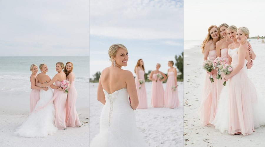Anna Maria Island Florida Beach Wedding Photographer Kristen Sloan, Sandbar Restaurant Wedding Anna Maria Island, Pink Bridesmaid Dresses Davids Bridal