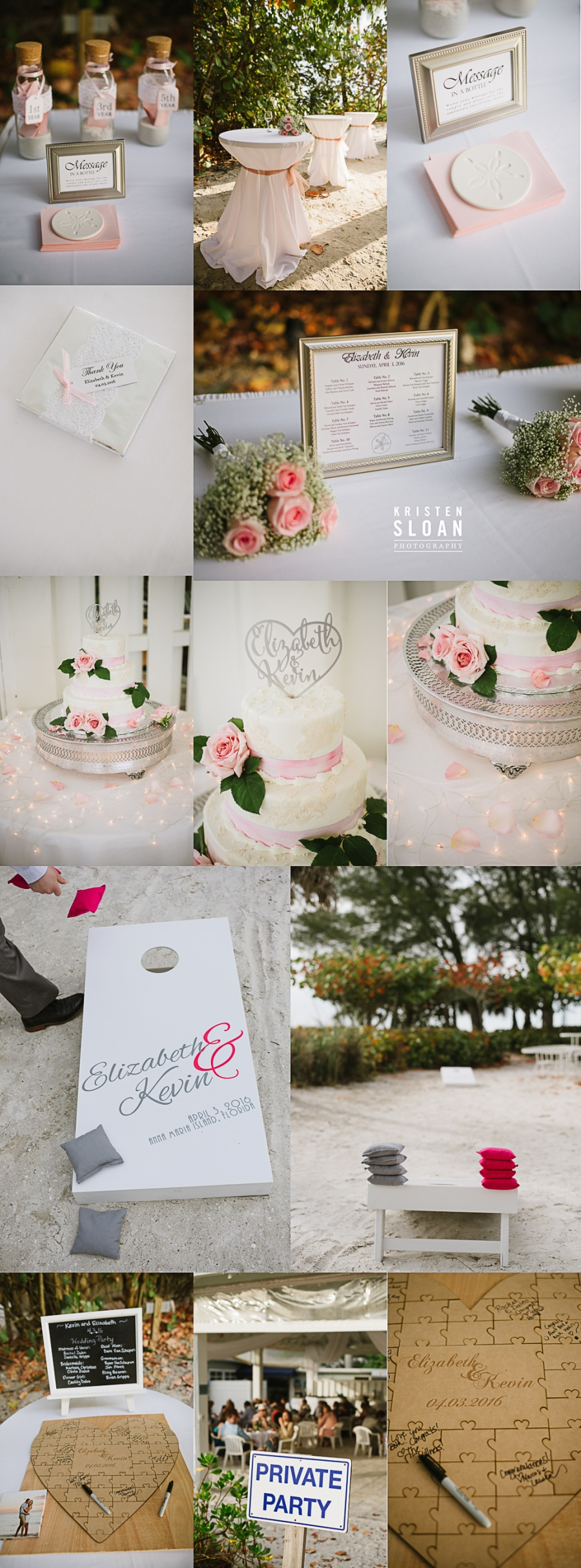 Anna Maria Island Florida Beach Wedding Photographer Kristen Sloan, Sandbar Restaurant Wedding Anna Maria Island, Beach Wedding Decor Pink