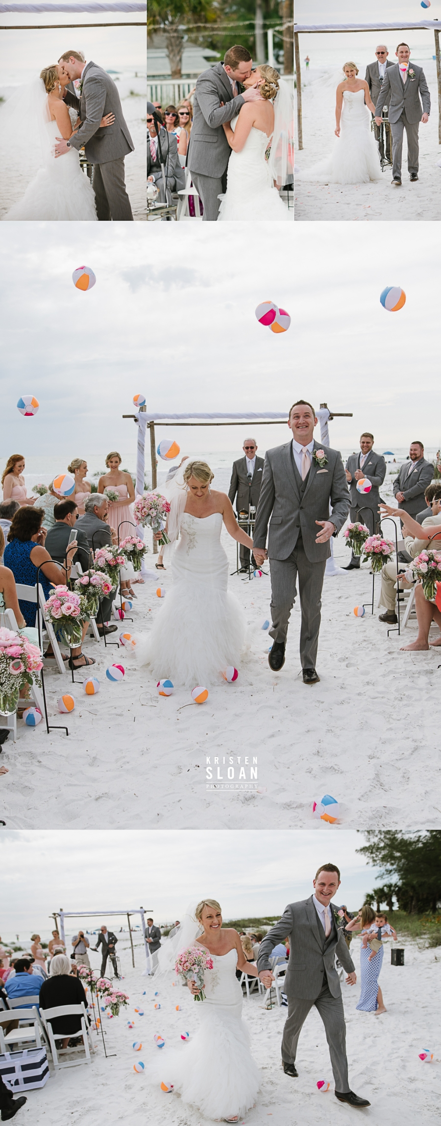 Anna Maria Island Florida Beach Wedding Photographer Kristen Sloan, Sandbar Restaurant Wedding Anna Maria Island, Beach Ball Wedding Toss